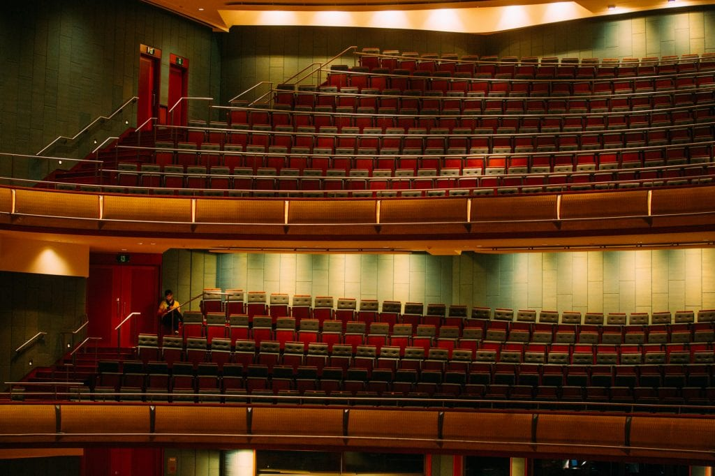 Paul Dalgarno has the dress circle to himself during rehearsal at the Esplanade Concert Hall. By Gregory Erdstein.