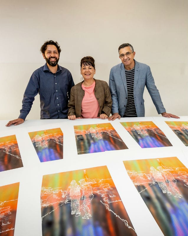 Trent Walter, Head of VCA Art Dr Kate Daw, and VCA Director Professor Jon Cattapan. Photo by Sav Schulman.