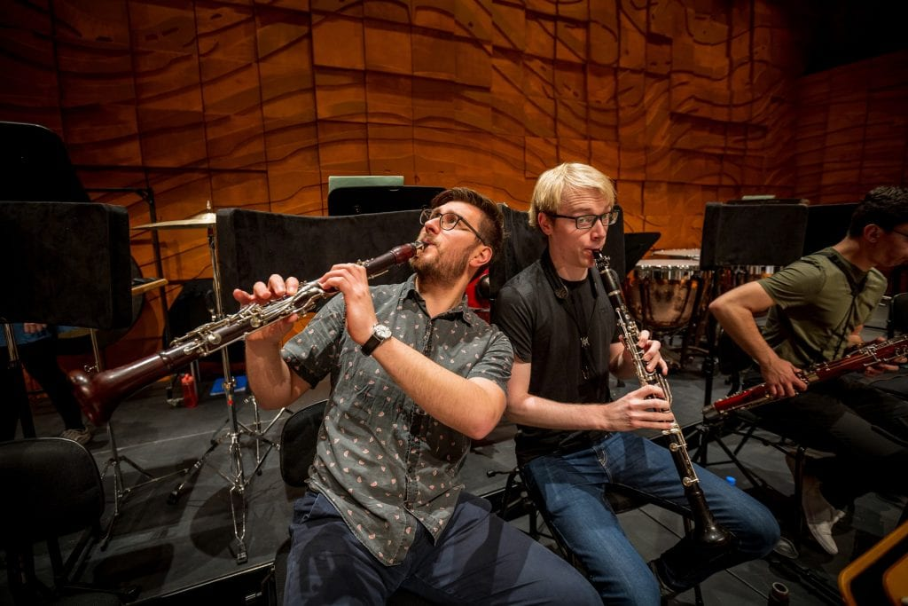 L-R: Clarinettists Jarrod Butler and Thomas D'Ath at the Melbourne Recital Centre. By Sav Schulman.