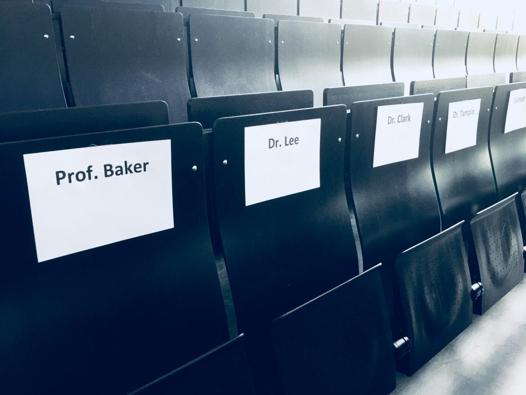 Reserved seats for the University of Melbourne's Music Therapy team. Image supplied.