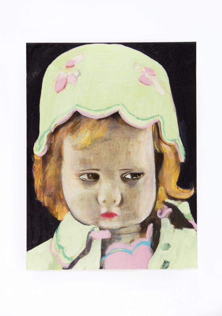 Kate Daw, 2016. Lenci doll. Oil paint on gesso sottile, 30cm x 40cm. Photo by Tobias Titz.