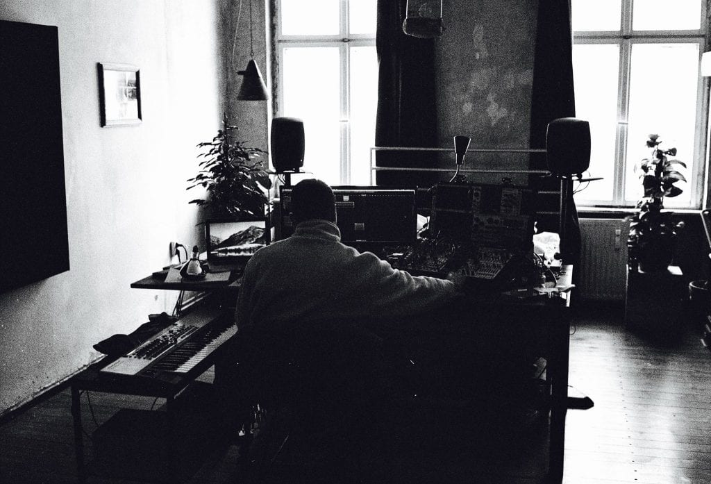 Tillman Jex at work in his Berlin apartment. By Jamie Graham.
