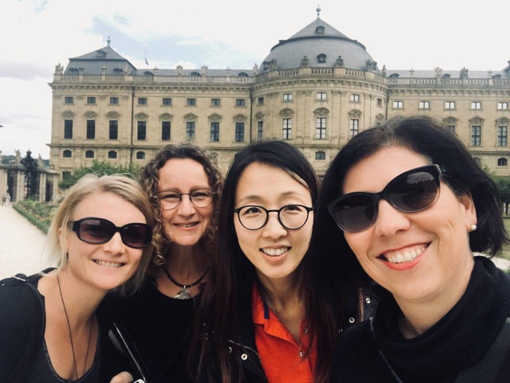 L-r: University of Melbourne Music Therapy colleagues Dr Jeanette Tamplin, Dr Imogen Clark, Dr Claire Lee and Professor Felicity Baker in Würzburg. Image supplied.