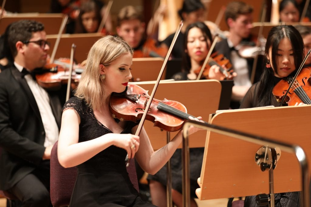 Concertmaster Arna Morton during the dress rehearsal in Shanghai. By Chris P Lim.