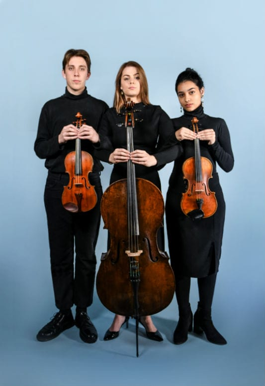 Felix Pascoe, Lauren Jennings and Nathania Camargo, students from the Melbourne Conservatorium of Music. Photo by Giulia McGauran.