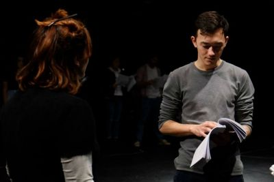 Rachel Shrives and Kim Ho at a rehearsal of Mirror's Edge. Photo by Bede McKenna.