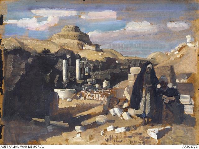 George Lambert, Sakkara, Pyramids and Roman ruins (1918). Australian War Memorial.