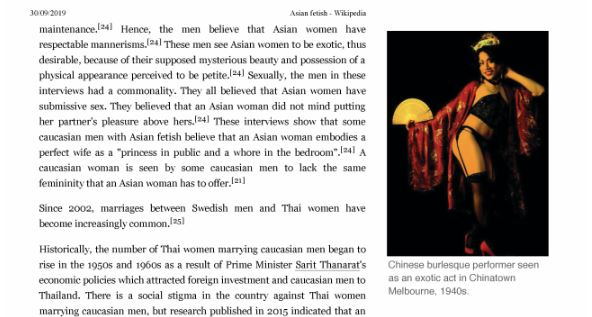 "Extract from the deleted Wikipedia Article ""Asian Fetish"", featuring a photo of Scarlett, dated 30 September 2019."