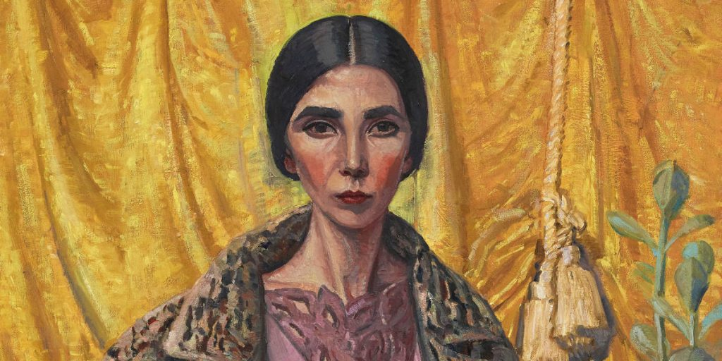 Yvette Coppersmith, Self-portrait, after George Lambert [detail], oil and acrylic on linen, 132 x 112cm. Image: Art Gallery of NSW.