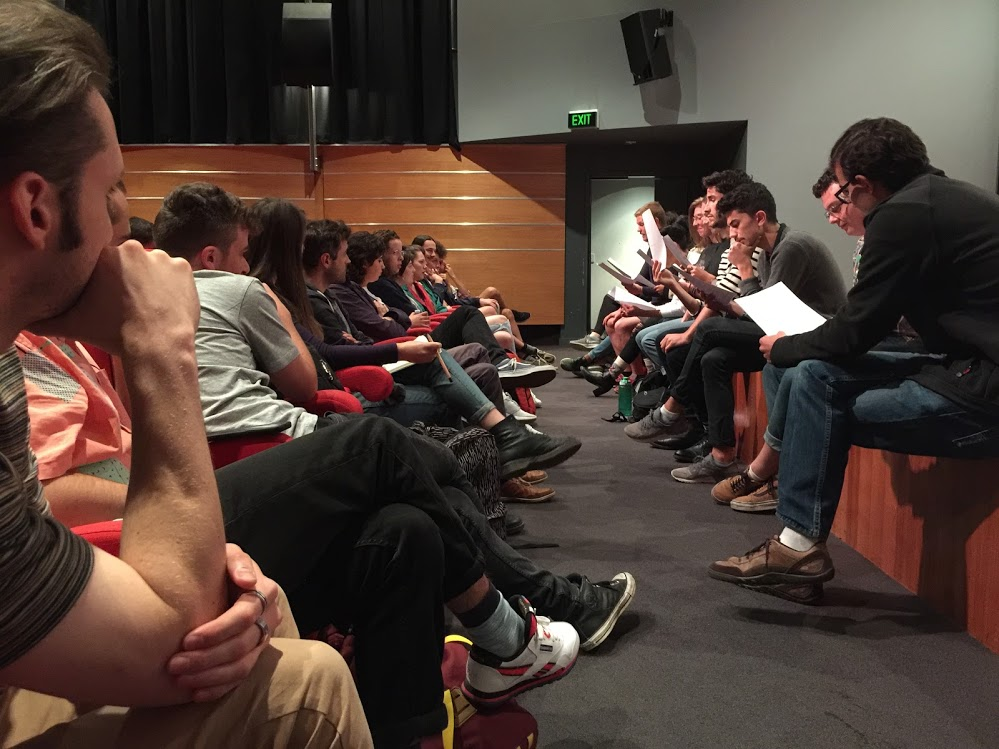Third-year BFA (Acting) students perform the first read-through to the crew of screenwriters, directors and producers. By Andrew O'Keefe.