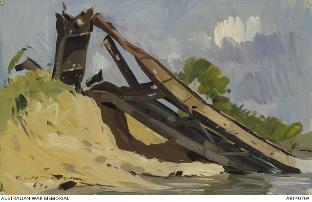 Ken McFadyen, Bombed out railway bridges, Vietnam (1967). Australian War Memorial.