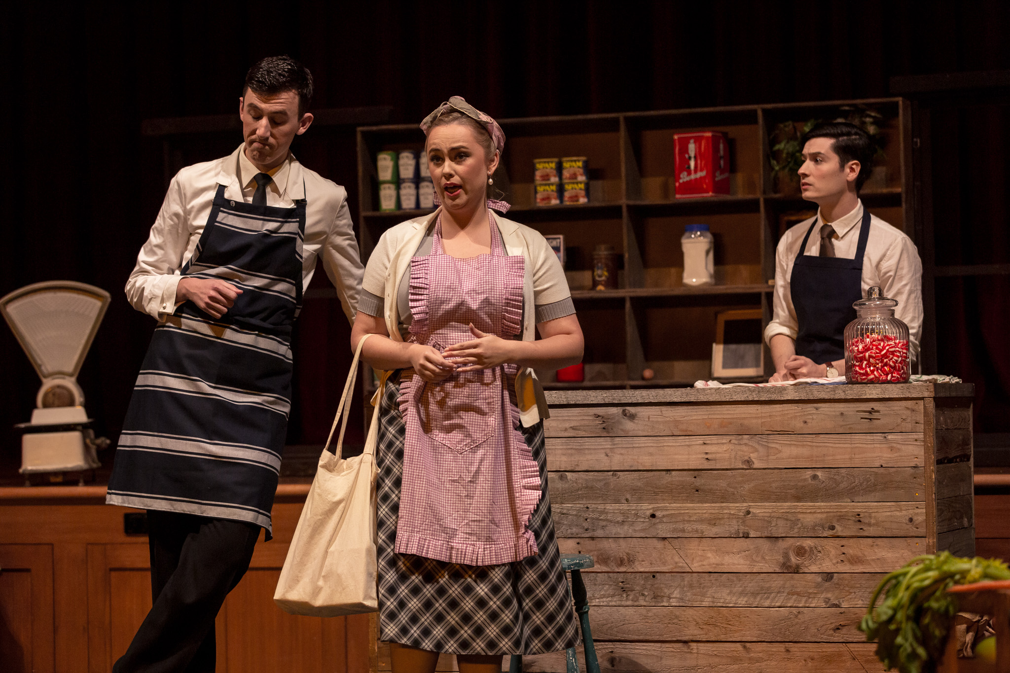 L–R: Darcy Carroll, Chloe Harris and Alastair-Copper Golec in Albert Herring, 2019. By Ben Fon.