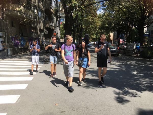 Mitrovica Rock School participants in Skopje, August 2019. By Gillian Howell.