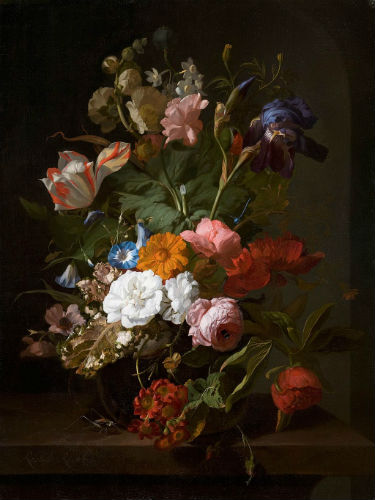Rachel Ruysch, Vase with Flowers, 1700. Wikimedia Commons.