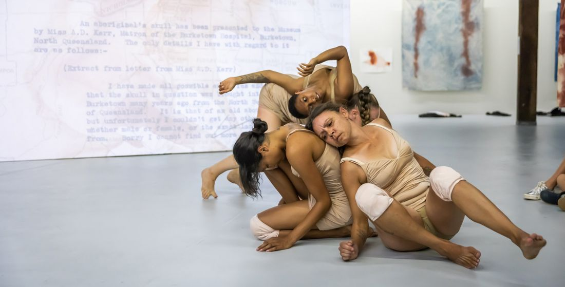 Judy Watson, 'skullduggery', performed by the Jannawi Dance Clan, 2021, Artspace, Sydney. Photo: Anna Kucera.