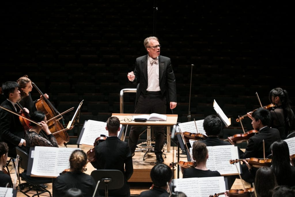Conductor Richard Davis during rehearsal at the Esplanade Concert Hall, Singapore. By Lori Wu.