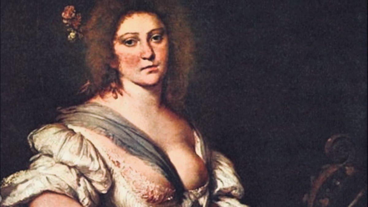 The Viola da Gamba Player. Portrait of composer Barbara Strozzi (1619–1677). Wikimedia Commons.