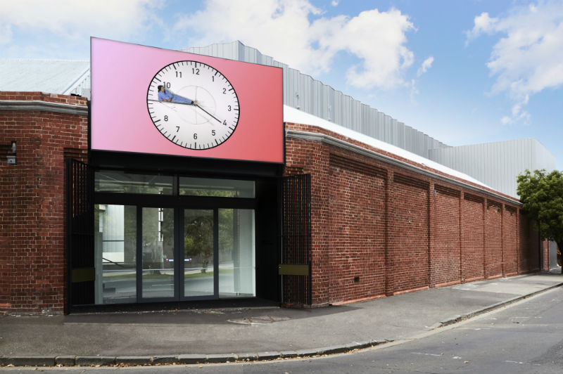 """The digital screen at the entrance of the Buxton Contemporary, featuring Kate Mitchell's """"In Time"""" (2015), digital video, colour, 16:9. Courtesy the artist and Anna Schwartz Gallery. Photo: James Geer."""