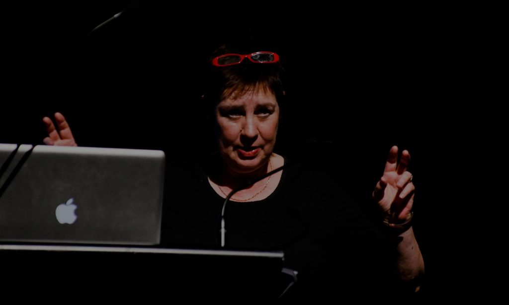 Professor Anne Marsh presenting as a keynote speaker for SEXES, 2012. Image supplied.