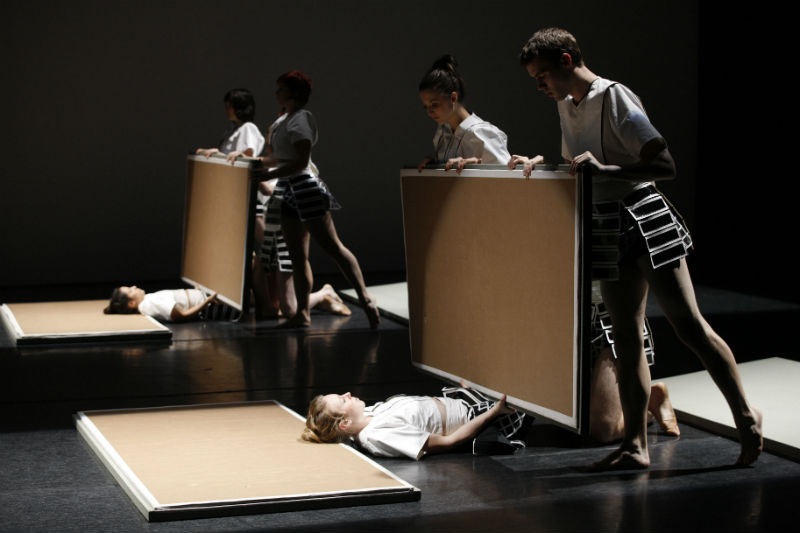 Origami, 2009, choreographed by Phillip Adams. Foreground dancers: Rebecca Jensen, Rachel Perica, Rennie McDougall. Image by Jeff Busby.