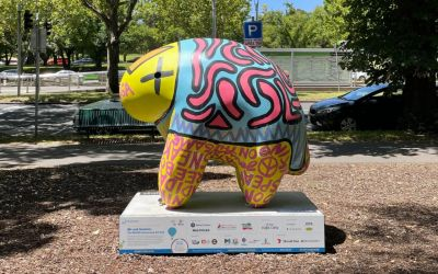 Binga the Uoo Uoo by Josh Muir, University of Melbourne Southbank Campus. Photo by Mireille Stahle.