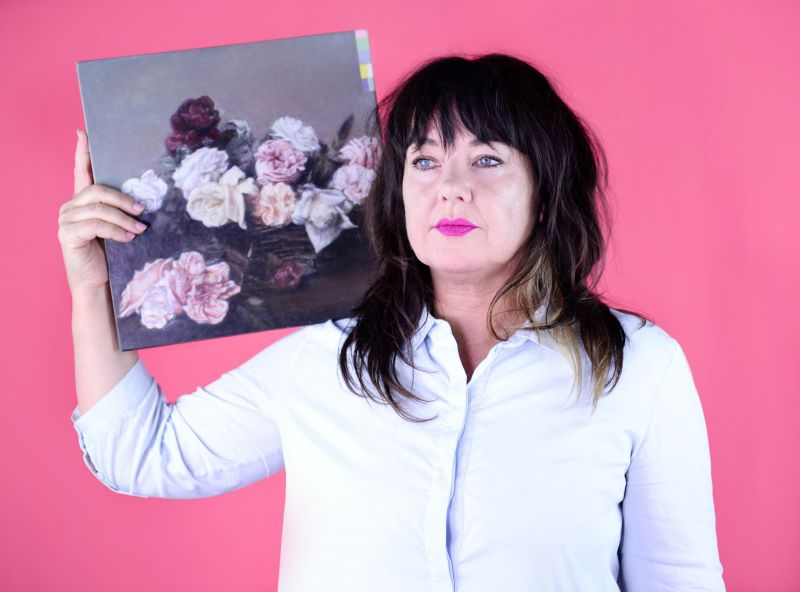 Kate Daw poses with a painting by Colleen Ahern for the Meet VCA Art feature, as part of the ART150 celebrations in 2017. By Giulia McGauran.