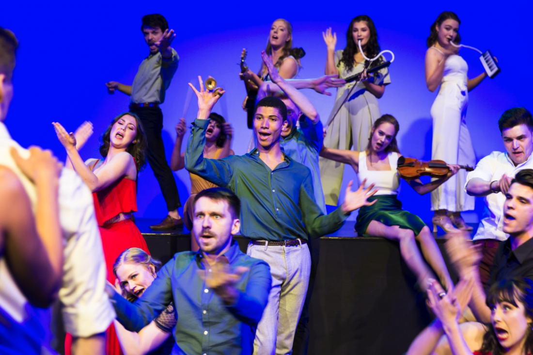 Music Theatre students perform in the 2018 Music Theatre Showcase. By Drew Echberg.