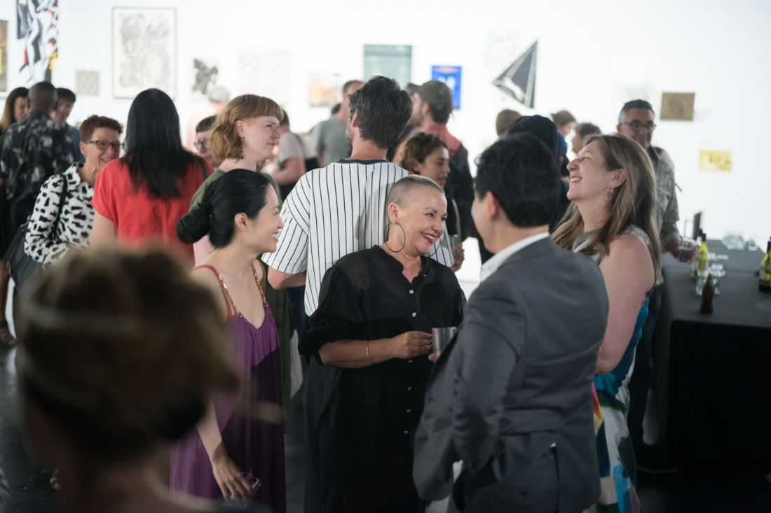 Kate Daw (centre) at the VCA's Art Schools for Fire Relief exhibition in January 2020. By Stephen McCallum.