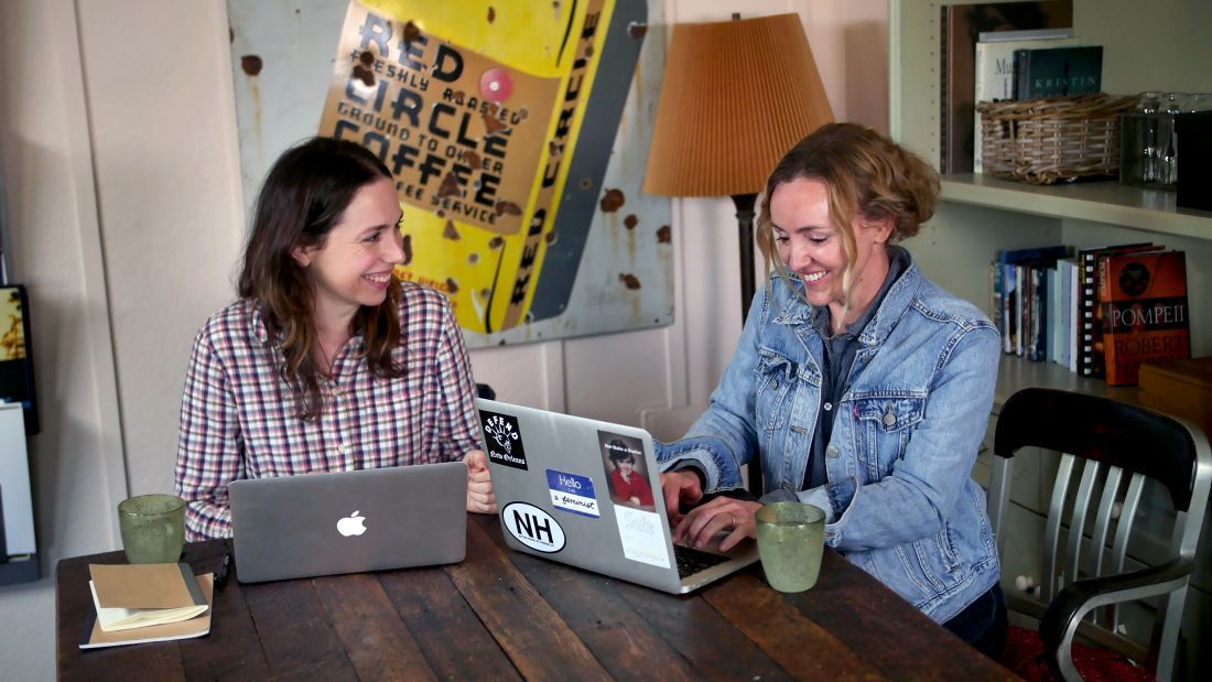 The partnership announcement was made at a University of Melbourne alumni event with Australian actor and VCA alumna, Alison Bell (left) with screenwriter Sarah Scheller at Charlies. Image: Costa Vakas