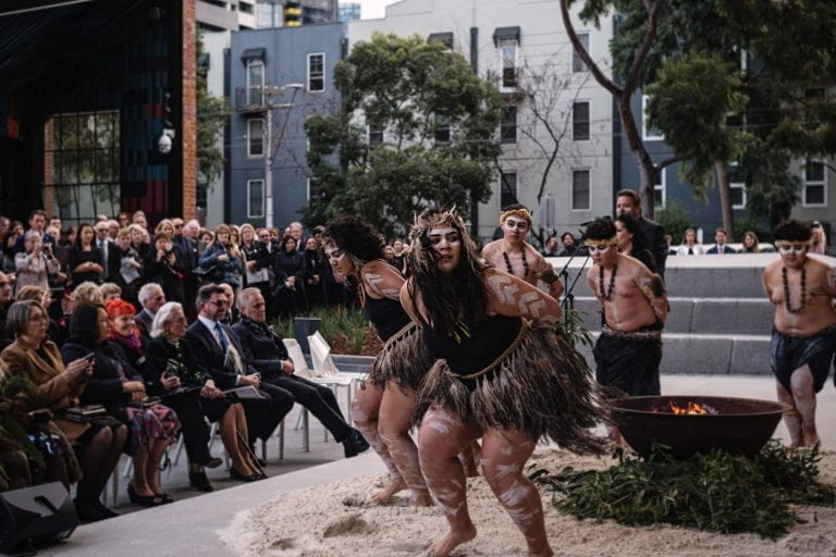 Ngargee Mur Min Bik Yan Yan dancers perform at the Welcome to Country ceremony at The Ian Potter Southbank Centre on 1 June, 2019. By Stephen McCallum.
