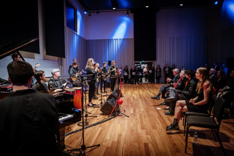 Orquesta Frenesi (Latin Jazz Ensemble) entertain guests, one of the pop-up performances across the many levels of The Ian Potter Southbank Centre. By Stephen McCallum.