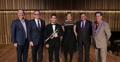 L-R Minister for Creative Industries Martin Foley, ACO Managing Director Richard Evans, Third Year Bachelor of Music student Jim Millman, Third Year Bachelor of Music student Georgie Hannah, University of Melbourne Vice-Chancellor Professor Duncan Maskell and Dean of the Faculty of Fine Arts and Music Professor Barry Conyngham at the opening of The Ian Potter Southbank Centre, 1 June. By Sav Schulman.