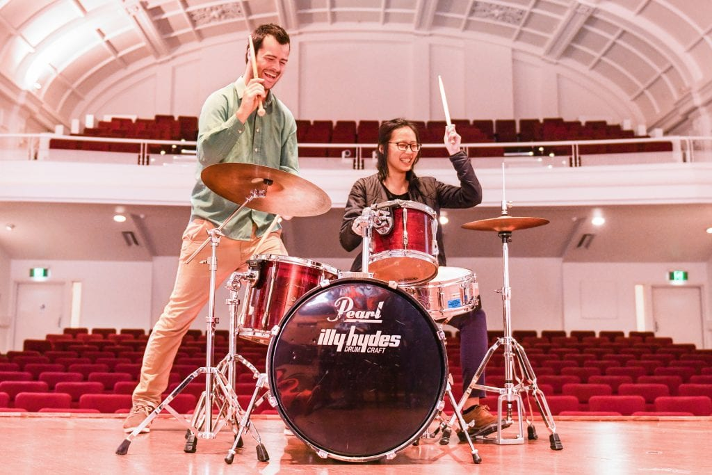 L-R: Jazz drummer and teacher Hannes Lackmann with the Melbourne Conservatorium's Heidi Ching. Image by Giulia McGauran.