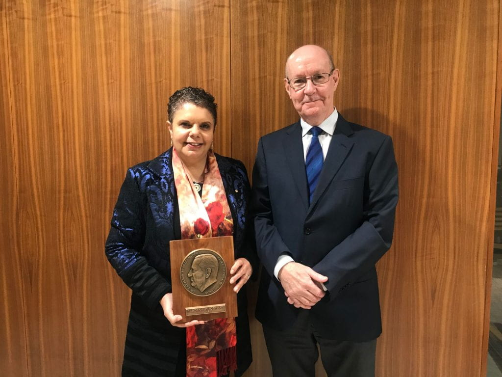 Deborah Cheetham with the Sir Bernard Heinze Memorial Award, with Director of the Melbourne Conservatorium of Music, Professor Gary McPherson.
