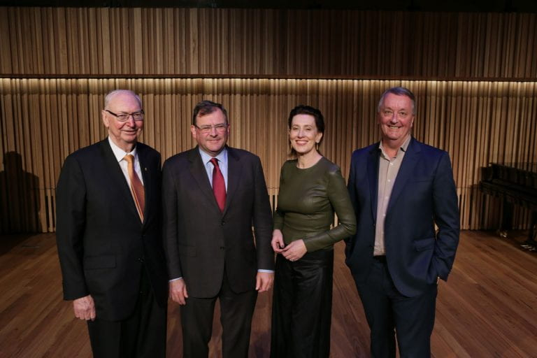 L-R Chairman of the Ian Potter Foundation Charles Goode AC, University of Melbourne Vice-Chancellor Duncan Maskell, broadcaster Virginia Trioli and Minister for Creative Industries Martin Foley at the launch of The Ian Potter Southbank Centre on 1 June, 2019. By Sav Schulman.