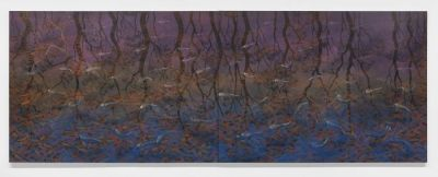 Fish & Leaves (Airport), 1995. Lin Onus. Synthetic polymer paint on canvas. 215 x 288cm ea Part A and part B.